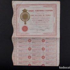 Coleccionismo Acciones Españolas: BANQUE TERRITORIAL D'ESPAGNE, MADRID 1872. Lote 71920711