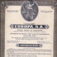 Coleccionismo Acciones Españolas: EUROPA S.A. COMPAÑÍA ESPAÑOLA DE CAPITALIZACION. Lote 71960003