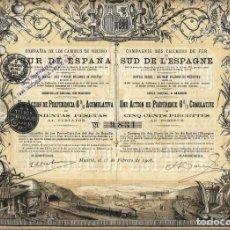 Coleccionismo Acciones Españolas: FERROCARRILES: COMPAÑÍA DE LOS CAMINOS DE HIERRO DEL SUR DE ESPAÑA. Lote 72073063