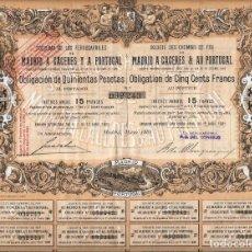 Coleccionismo Acciones Españolas: SOCIEDAD DE LOS FERRO-CARRILES DE MADRID A CÁCERES Y A PORTUGAL. Lote 72073171