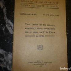 Coleccionismo Acciones Españolas: TITULOS COMPAÑIA CAMINOS HIERRO NORTE DE ESPAÑA 1928 MADRID. Lote 72265235
