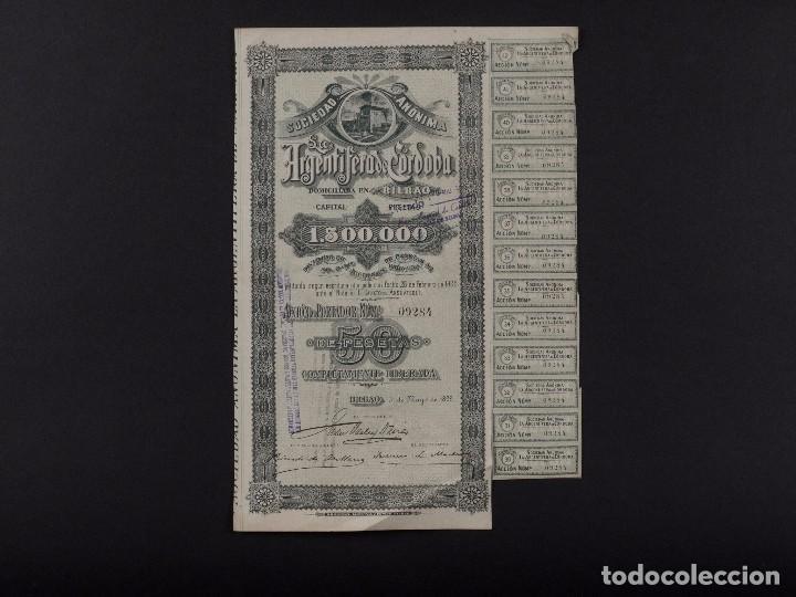 S.A. LA ARGENTÍFERA DE CÓRDOBA, BILBAO 1899 (Coleccionismo - Acciones Españolas)