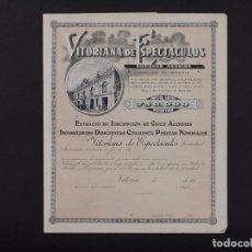 Coleccionismo Acciones Españolas: VITORIANA DE ESPECTÁCULOS, VITORIA 1931. Lote 72751559