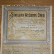 Coleccionismo Acciones Españolas: ACCIÓN - SOCIEDAD ANÓNIMA CROS - 1964 - BARCELONA - 18 DE DICIEMBRE DE 1964. Lote 72925603