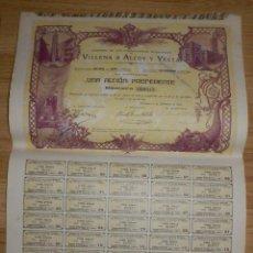 Coleccionismo Acciones Españolas: ACCIÓN COMPAÑIA LOS FERROCARRILES ECONÓMICOS VILLENA A ALCOY Y YECLA - BARCELONA 3 DE DICIEMBRE 1910. Lote 72926007