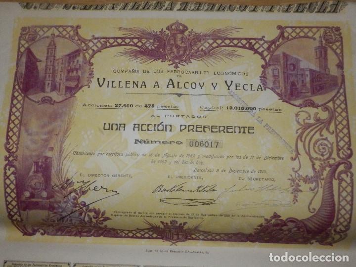 Coleccionismo Acciones Españolas: ACCIÓN Compañia los Ferrocarriles Económicos Villena a Alcoy y Yecla - Barcelona 3 de Diciembre 1910 - Foto 2 - 72926007