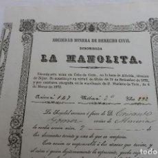 Coleccionismo Acciones Españolas: SOCIEDAD MINERA DENOMINADA LA MANOLITA, CABO DE GATA, BOCA DE ALBELDA EN NIJAR, ALMERIA 1873. Lote 73156415