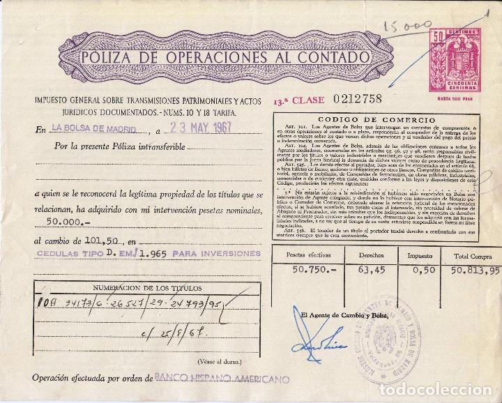 Coleccionismo Acciones Españolas: 2 POLIZAS ANTIGUAS DE BOLSA- OPERACIONES AL CONTADO- 1965 - Foto 2 - 73510935
