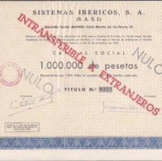 Coleccionismo Acciones Españolas: ACCION DE SISTEMAS IBERICOS, S.A.. Lote 56331208