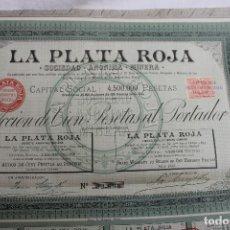 Coleccionismo Acciones Españolas: SOCIEDAD ANONIMA MINERA, LA PLATA ROJA, MADRID 1894, CIEN PESETAS. Lote 74910803