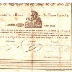 Collezionismo Azioni Spagnole: ACCION SOCIEDAD DE MINAS LA NUEVA CONCORDIA. CARTAGENA. 31 DE MARZO DE 1852. Lote 75374339