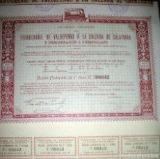 Coleccionismo Acciones Españolas: FERROCARRIL DE VALDEPEÑAS A CALZADA DE CALATRAVA 1906 -ACCIONE PREFERENTE 1ª CLASE-. Lote 75909255
