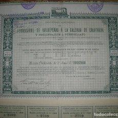 Coleccionismo Acciones Españolas: FERROCARRIL DE VALDEPEÑAS A CALZADA DE CALATRAVA 1906 -ACCIONES PREFERENTES DE 2ª CLASE-. Lote 75909971