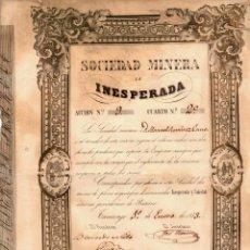 Collezionismo Azioni Spagnole: ACCION SOCIEDAD MINERA LA INESPERADA. TAMUREJO. BADAJOZ. AÑO 1853. Lote 76012815