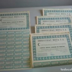 Coleccionismo Acciones Españolas: LOTE 5 ACCIONES INDUSTRIAS DELTA. TORTOSA 1961.. Lote 188757643