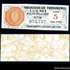 Coleccionismo Acciones Españolas: CATALUÑA BILLETE OBLIGACION DE 6,875 PESTAS AÑO 1936 SERIE 075727 (GUERRA CIVIL ESPAÑOLA)CUPO 5. Lote 76574747