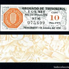 Coleccionismo Acciones Españolas: CATALUÑA OBLIGACION DE 6,875 PESTAS AÑO 1936 SERIE 075699 (GUERRA CIVIL ESPAÑOLA)CUPO 10. Lote 163134534