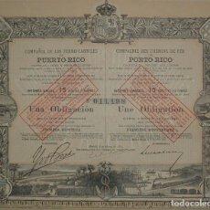 Coleccionismo Acciones Españolas: COMPAÑÍA DE LOS FERROCARRILES DE PUERTO RICO, MADRID (1889). Lote 77750226