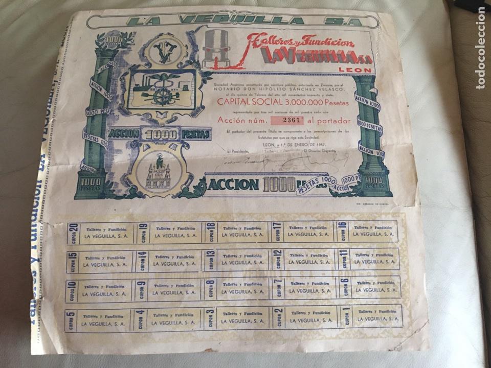 TALLERES DE FUNDICIÓN LA VEGUILLA S.A LEÓN 1957 (Coleccionismo - Acciones Españolas)