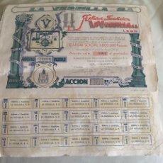 Coleccionismo Acciones Españolas: TALLERES DE FUNDICIÓN LA VEGUILLA S.A LEÓN 1957. Lote 78799023