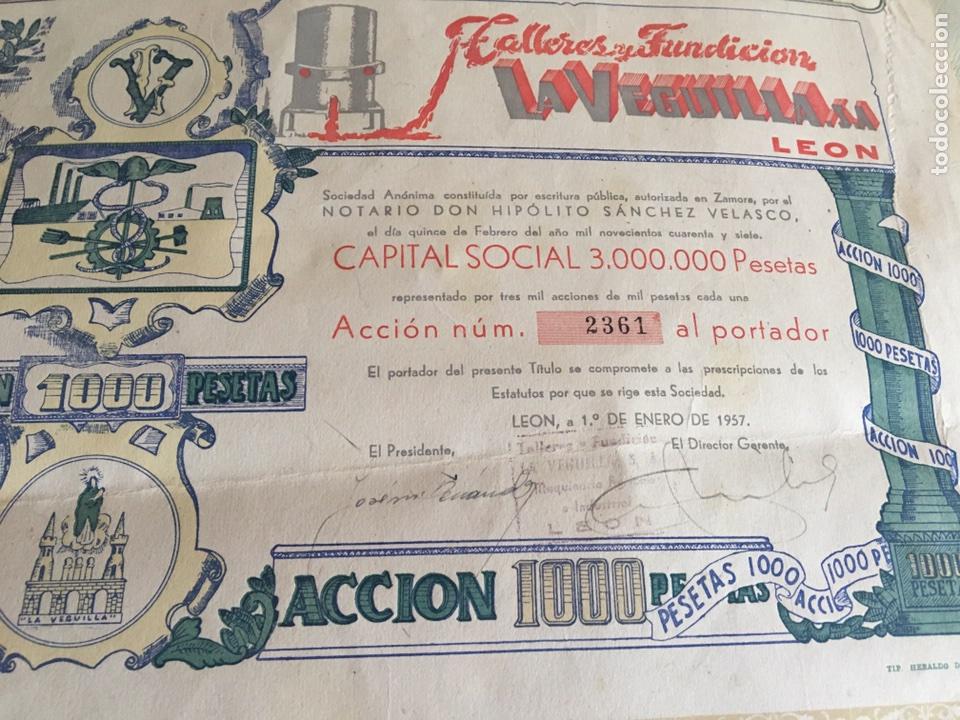 Coleccionismo Acciones Españolas: TALLERES DE FUNDICIÓN LA VEGUILLA S.A LEÓN 1957 - Foto 5 - 78799023