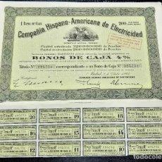 Coleccionismo Acciones Españolas: COMPAÑÍA HISPANO AMERICANA DE ELECTRICIDAD. 1 BONO DE CAJA. MADRID. 1942. FIRMA DE FRANCESC CAMBO.. Lote 79006965