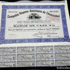Coleccionismo Acciones Españolas: COMPAÑÍA HISPANO AMERICANA DE ELECTRICIDAD. 1 BONO DE CAJA.MADRID. 1943. FIRMA DE FRANCESC CAMBO.. Lote 79007549