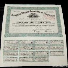 Coleccionismo Acciones Españolas: COMPAÑÍA HISPANO AMERICANA DE ELECTRICIDAD. MADRID. 1945. FIRMA DE FRANCESC CAMBO.. Lote 79023457