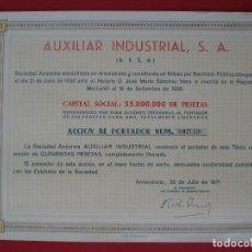 Coleccionismo Acciones Españolas: ACCION AUXILIAR INDUSTRIAL, S.A - 500 PTS.- AMOREBIETA -1971 - 23X31 CM. -NUMERADA 27126.. R-5091. Lote 79101001