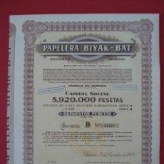 Coleccionismo Acciones Españolas: ACCION PAPELERA BIYAK-BAT - 500 PTS - VILLABONA -1946 - 38X31 CM... R-5098. Lote 79105417