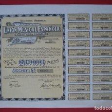 Coleccionismo Acciones Españolas: ACCION UNION MUSICAL ESPAÑOLA, ANTES CASA DOTESIO - 500 PTS - MADRID -1971 - 27X34 CM... R-5106. Lote 79111065