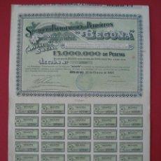 Coleccionismo Acciones Españolas: ACCION SOCIEDAD EXPLOTADORA DE PETROLEOS BEGOÑA - 500 PTS - BILBAO -1921 - 41,5X28,5 CM... R-5112. Lote 79113433