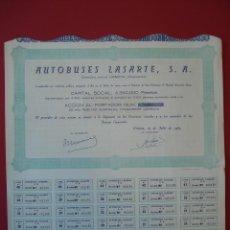 Coleccionismo Acciones Españolas: ACCION AUTOBUSES LASARTE, S.A. - 1000 PTS. - URNIETA - 1965 - 37 X 34,5 CM.. R-5121. Lote 79220785