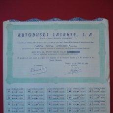 Coleccionismo Acciones Españolas: ACCION AUTOBUSES LASARTE, S.A. - 1000 PTS. - URNIETA - 1965 - 37 X 34,5 CM.. R-5122. Lote 79221005