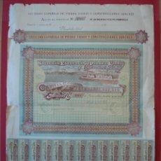 Coleccionismo Acciones Españolas: ACCION SOC. ESPAÑOLA PIEDRA VIDRIO Y CONSTRUC. GARCHEY - 500 PTS - PASAJE -1904 - 65 X 46 CM. R-5131. Lote 79227521
