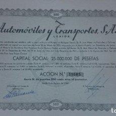 Coleccionismo Acciones Españolas: ACCION AUTOMOVILES Y TRANSPORTES, S.A. - 500 PTS - LERIDA, LLEIDA - AÑO 1967 - 33,5 X 37 CM.. R-5260. Lote 80338641