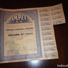 Coleccionismo Acciones Españolas: ACCIÓN Nº 002671 - 500 PTAS - SOCIEDAD IMPEX, S.A. - CONSTITUIDA EN BURGOS 1938 EMITIDA EN 1939 -. Lote 80499189