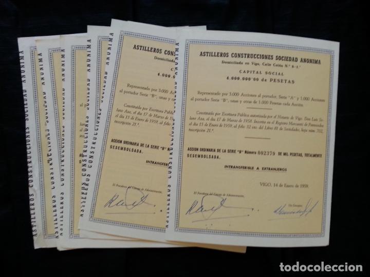 LOTE 6 ACCIONES ASTILLEROS CONSTRUCCIONES S.A., 1000 PESETAS VIGO 1959 (Coleccionismo - Acciones Españolas)