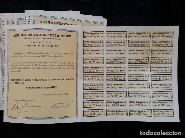 Coleccionismo Acciones Españolas: LOTE 6 ACCIONES ASTILLEROS CONSTRUCCIONES S.A., 1000 PESETAS VIGO 1959 - Foto 2 - 82795316