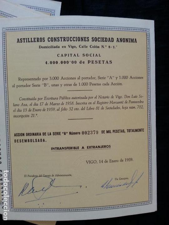 Coleccionismo Acciones Españolas: LOTE 6 ACCIONES ASTILLEROS CONSTRUCCIONES S.A., 1000 PESETAS VIGO 1959 - Foto 3 - 82795316