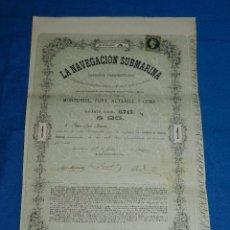 Coleccionismo Acciones Españolas: ACCION ORIGINAL - LA NAVEGACION SUBMARINA , NARCISO MONTURIOL MAYO 1864 ( ORIGINAL ). Lote 83940764