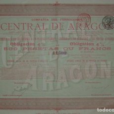 Coleccionismo Acciones Españolas: COMPAÑÍA DEL FERROCARRIL CENTRAL DE ARAGÓN: LÍNEA CALATAYUD (ZARAGOZA) AL GRAO DE VALENCIA (1903). Lote 84506528