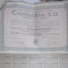 Coleccionismo Acciones Españolas: EMPRESA CONSTRUCTORA CANTABRIA. Lote 85211464