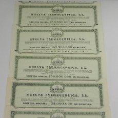 Coleccionismo Acciones Españolas: ACCIÓN. LOTE 5 ACCIONES DE HUELVA FARMACEUTICA S.A. AMPLIACIONES DE CAPITAL, 1960, 62, 74, 76, 81 . Lote 85284504