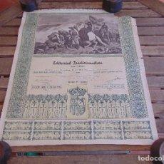 Coleccionismo Acciones Españolas: ACCIÓN EDITORIAL TRADICIONALISTA CARLISMO, REQUETE. MADRID 1933 EPOCA LA REPUBLICA MIDE 59 X 50.5 CM. Lote 86024328