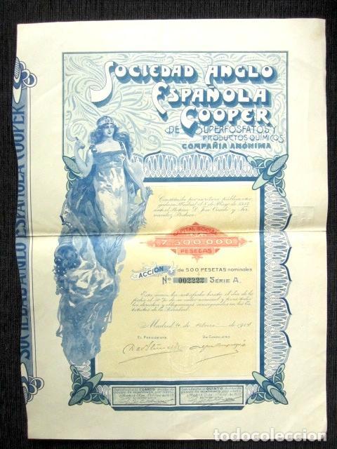 ACCIÓN SOCIEDAD ANGLO-ESPAÑOLA COOPER DE SUPERFOSFATOS Y PRODUCTOS QUÍMICOS. MADRID, AÑO 1914 (Coleccionismo - Acciones Españolas)
