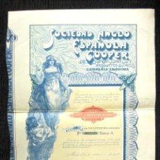 Coleccionismo Acciones Españolas: ACCIÓN SOCIEDAD ANGLO-ESPAÑOLA COOPER DE SUPERFOSFATOS Y PRODUCTOS QUÍMICOS. MADRID, AÑO 1914. Lote 112627232