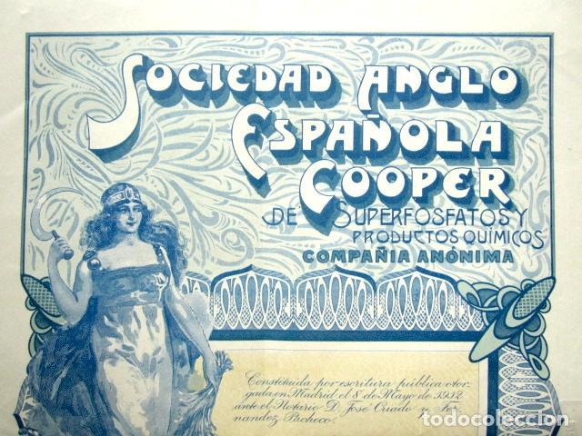 Coleccionismo Acciones Españolas: Acción Sociedad Anglo-Española Cooper de Superfosfatos y productos químicos. Madrid, año 1914 - Foto 2 - 112627232