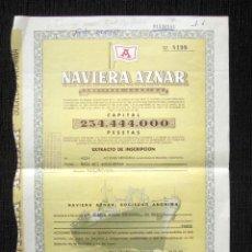 Coleccionismo Acciones Españolas: ACCIÓN NAVIERA AZNAR. BILBAO, AÑO 1961. Lote 86355412