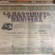 Coleccionismo Acciones Españolas: ACCION MAQUINISTA TERRSTRE Y MARITIMA. Lote 85338976
